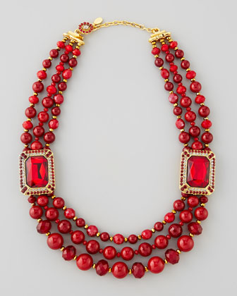 Beaded Ornamental Necklace, Red