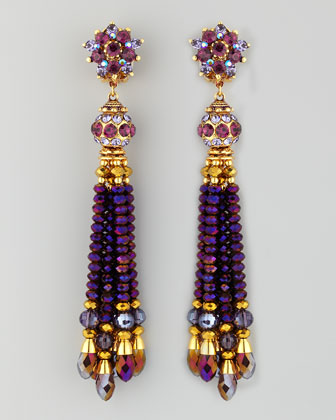 Bead-Tassel Earrings, Purple