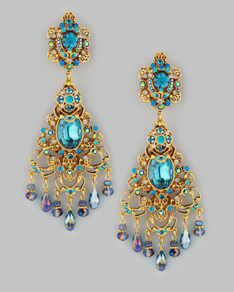 Filigree Chandelier Clip Earrings, Gold/Teal