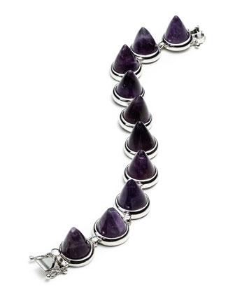 Silvertone Amethyst Cone Bracelet