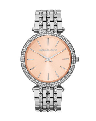 Mid-Size Silver-Color Stainless Steel Darci Three-Hand Glitz Watch