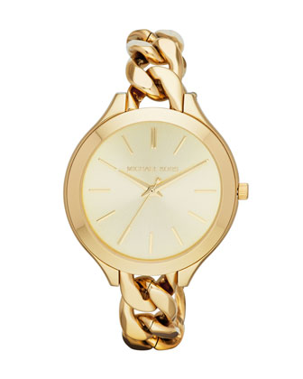 Mid-Size Golden Stainless Steel Runway Three-Hand Watch