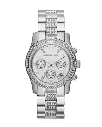 Mid-Size Silver Color Stainless Steel Runway Chronograph Glitz Watch