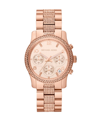 Mid-Size Rose Gold Runway Chronograph Glitz Watch