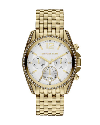 Mid-Size Gold Color Stainless Steel Pressley Chronograph Glitz Watch