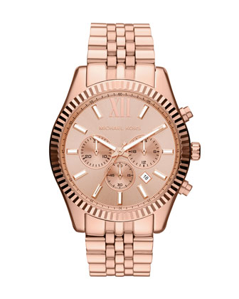 Oversize Rose Golden Stainless Steel Lexington Chronograph Watch