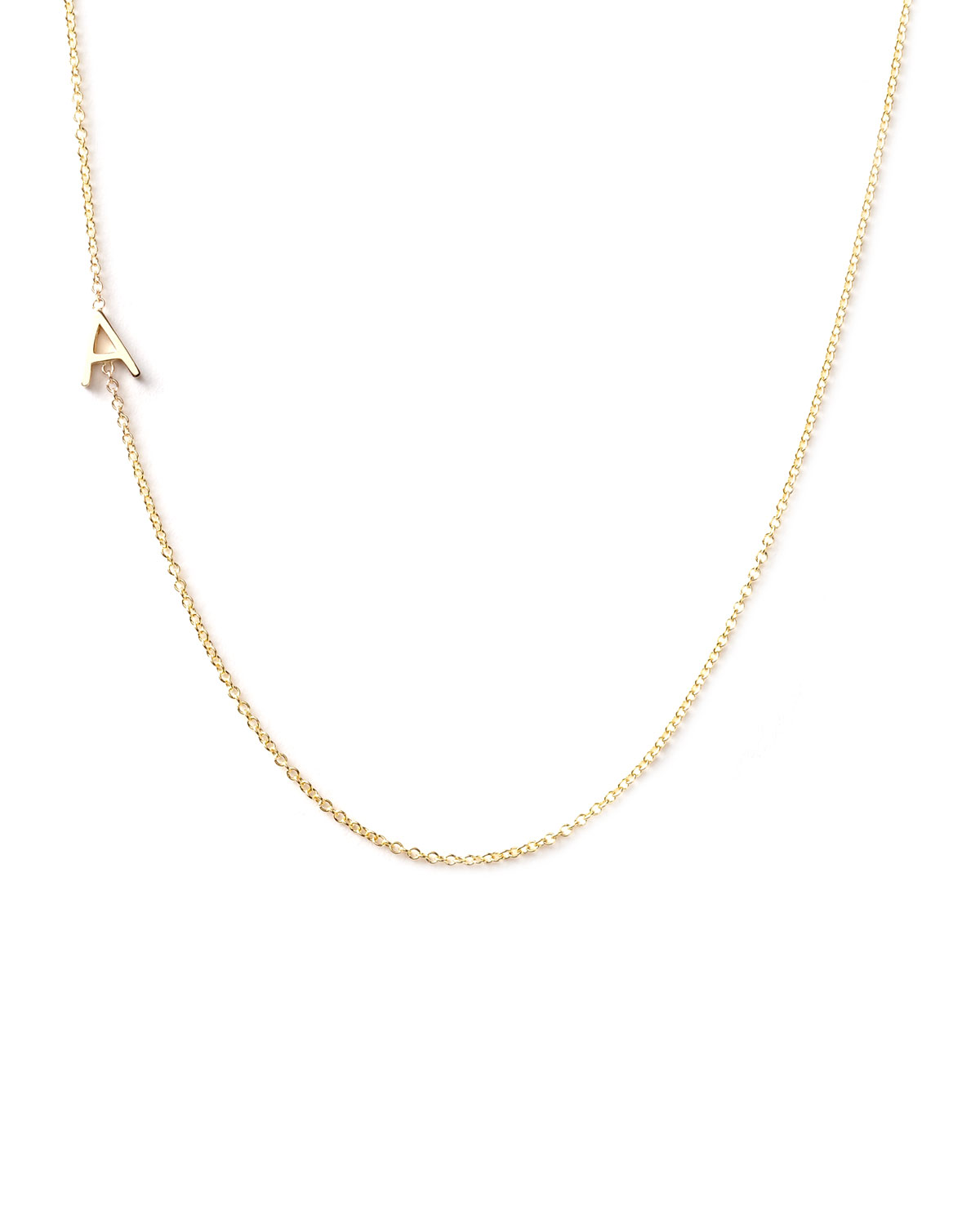 14k Yellow Gold Mini Letter Necklace, A - Maya Brenner Designs