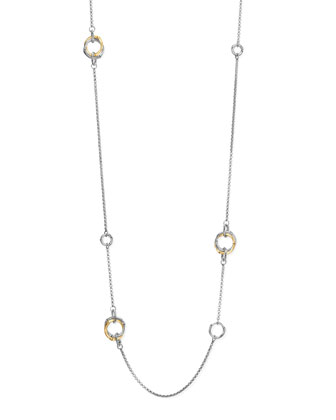 Bamboo Silver & Gold Station Necklace