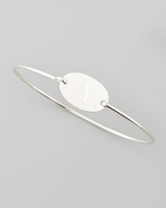 Letter-Engraved Oval Bracelet
