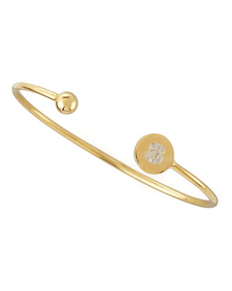 Ball & Pave Diamond Initial Bracelet