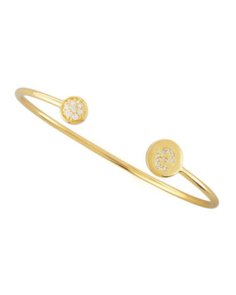 Diamond-Ball & Pave Diamond Initial Bracelet, Gold