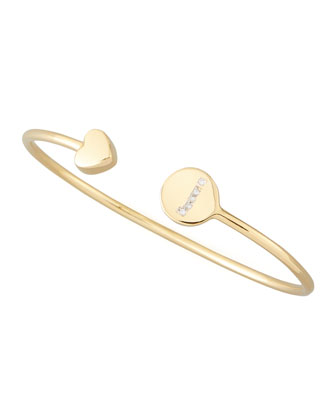 Gold & Pave Diamond Initial Bracelet, Gold
