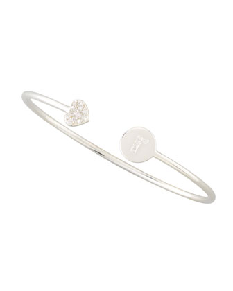 Diamond-Heart & Pave Diamond Initial Bracelet, Silver