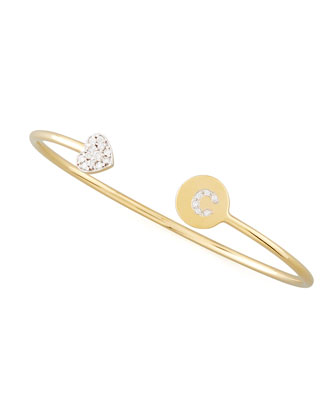 Diamond-Heart & Pave Diamond Initial Bracelet, Gold