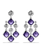 Sculpted Cable Chandelier Earrings with Amethyst