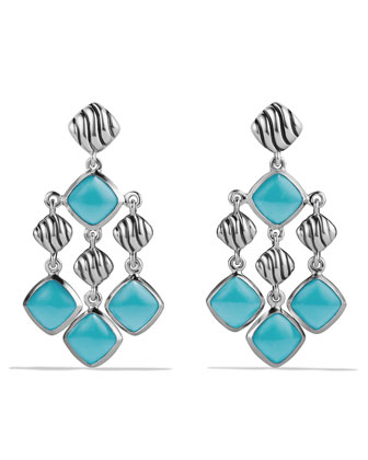Sculpted Cable Chandelier Earrings with Turquoise