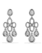 Sculpted Cable Chandelier Earrings with Diamonds