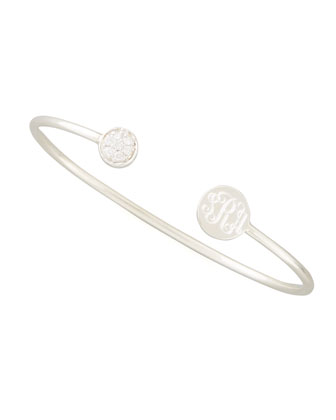 Elle Diamond Disc- Monogram Bangle, Silver