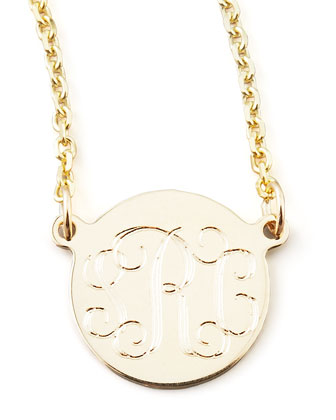 Cara Monogrammed 14k Gold Necklace, 3/8
