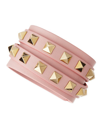 Multi-Strand Leather Wrap Bracelet Bracelet, Pink