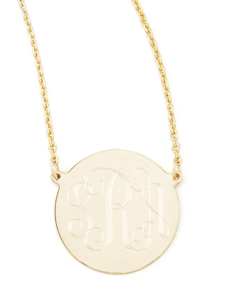 Cara Monogrammed 14k Gold Necklace, 5/8