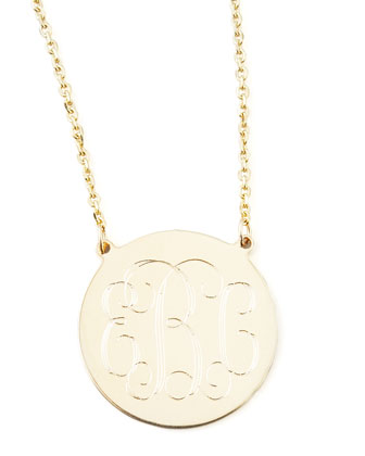 Cara Monogrammed 14k Gold Necklace, 3/4