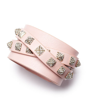 Rockstud Multi-Strand Crystal-Stud Leather Bracelet, Pink