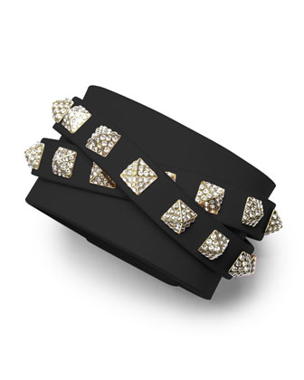 Rockstud Multi-Strand Crystal-Stud Leather Bracelet, Black