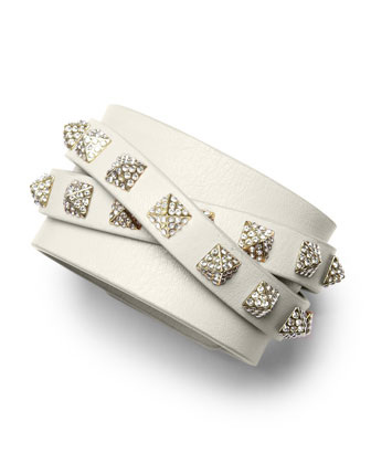 Rockstud Multi-Strand Crystal-Stud Leather Bracelet, Ivory