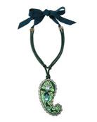 Long Crystal Paisley Pendant Ribbon Necklace