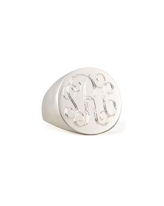 Lana Monogrammed Round Signet Ring