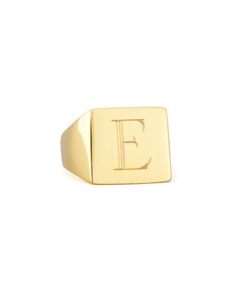 Letter-Engraved Square Signet Ring, Gold