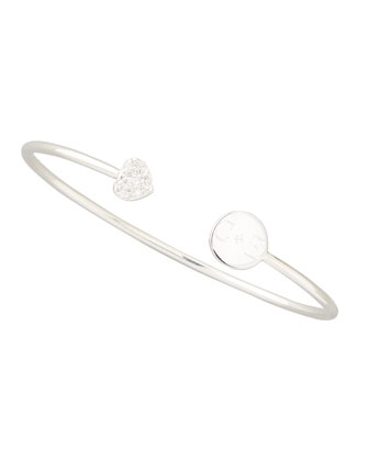 Elle Diamond-Heart Monogrammed-Disc Bangle, Silver
