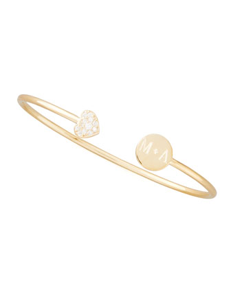 Elle Diamond-Heart Monogrammed-Disc Bangle, Gold