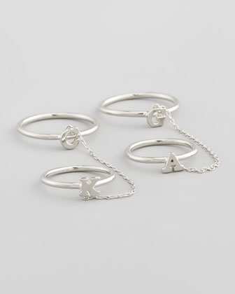 Silver Shea Linked Initial Rings