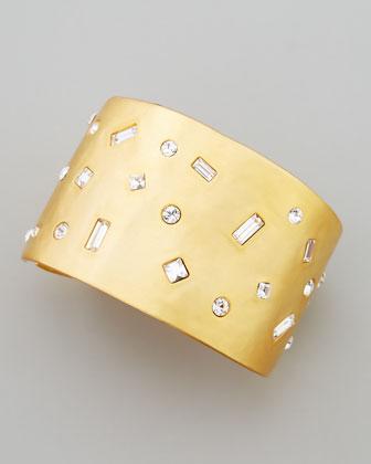 Satin Gold-Plate Crystal Cuff Bracelet
