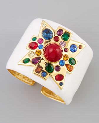 Wide Enamel-Fill Golden Cuff, White/Red