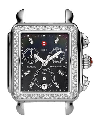Deco Diamond Watch Head, Stainless Steel/Gray