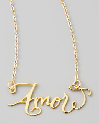 Amor Hand-Calligraphed Necklace