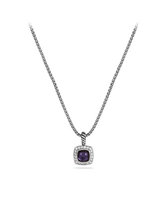 Petite Albion Pendant with Black Orchid and Diamonds on Chain