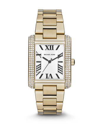 Mid-Size Golden Stainless Steel Emery Three-Hand Glitz Watch