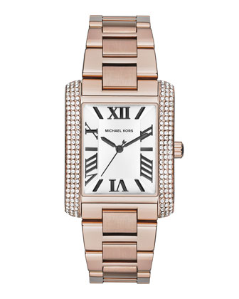 Mid-Size Rose Golden Stainless Steel Emery Three-Hand Glitz Watch