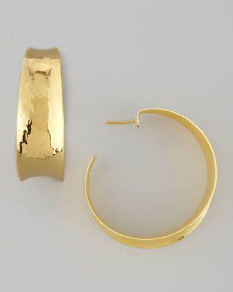22k Gold-Plate Hammered Hoop Earrings