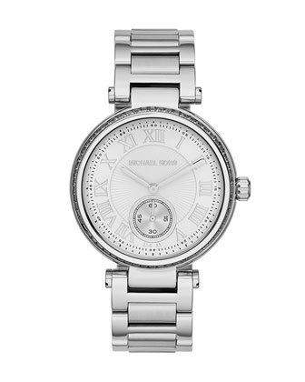 Mid-Size Silver Color Skylar Two-Hand Glitz Watch