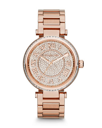 Mid-Size Rose Golden Skylar Two-Hand Glitz Watch