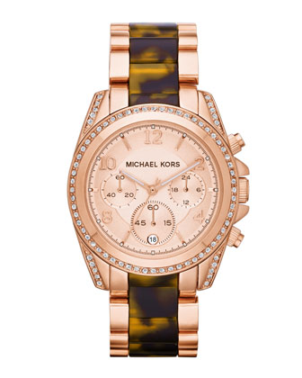 Mid-Size Rose Golden Stainless Steel Blair Chronograph Glitz Watch