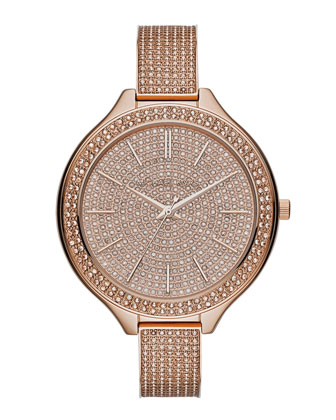 Mid-Size Rose Golden Runway Three-Hand Glitz Watch