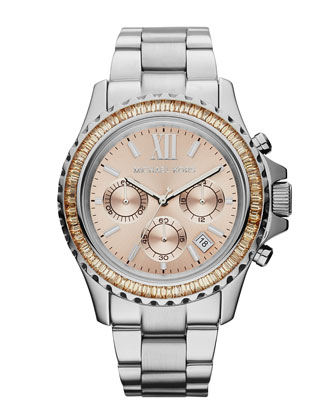 Mid-Size Silver Color Stainless Steel Everest Chronograph Glitz Watch