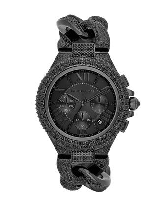 Mid-Size Black Stainless Steel Twisted Camille Three-Hand Glitz Watch
