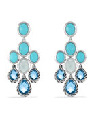 Chandelier Earrings with Blue Topaz, Turquoise, and Milky Quartz